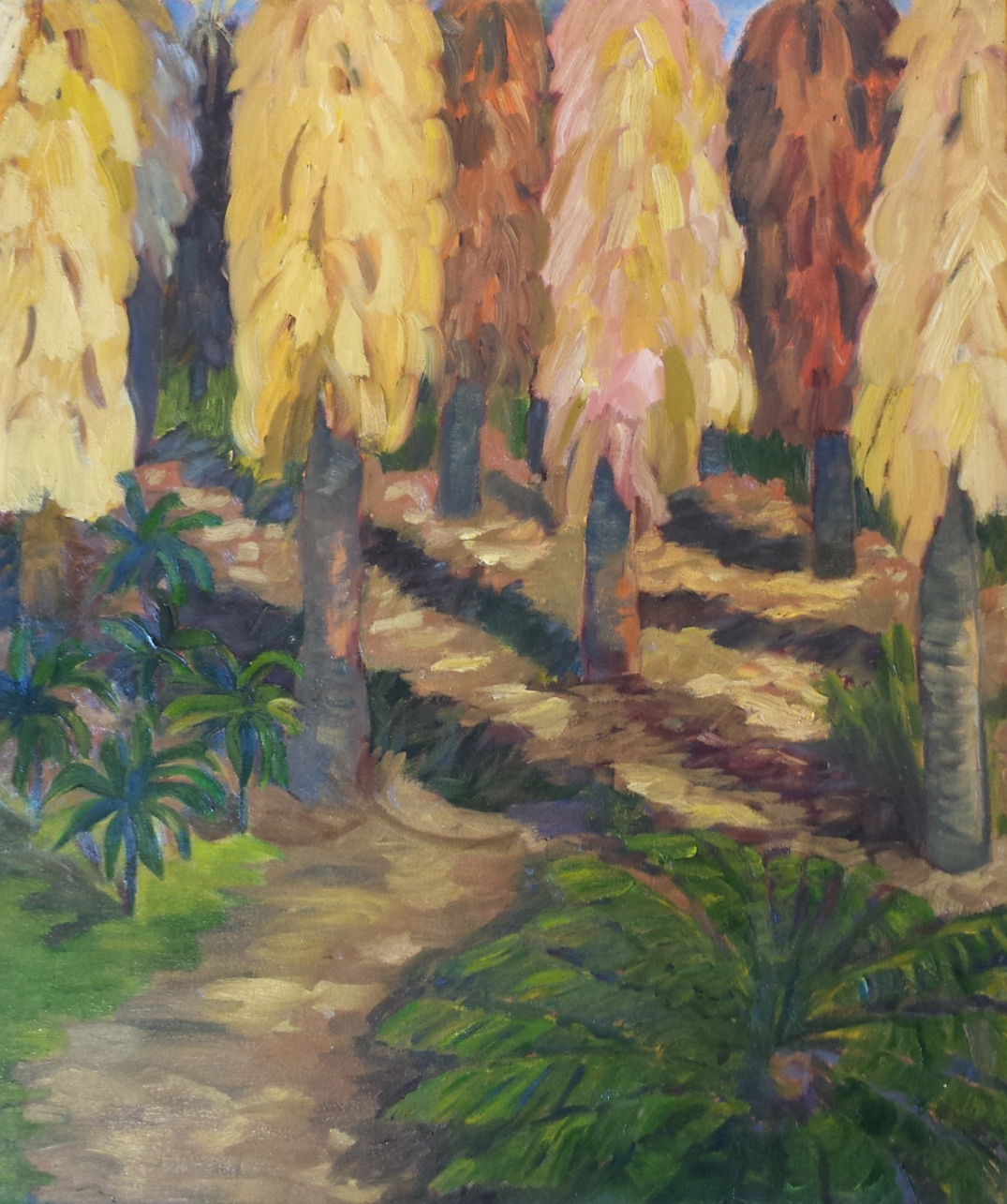 "Afternoon Light in Palm Grove  24"" x 28"""