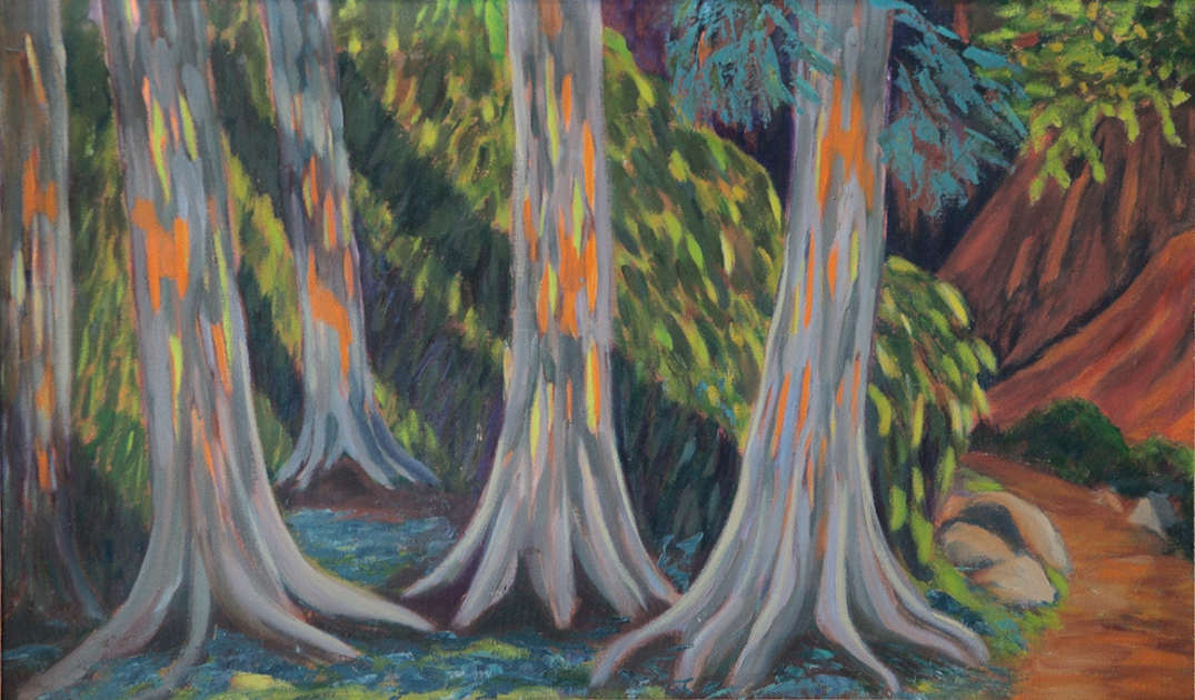 "Paint Bark Eucalyptus Trees  18"" x 30"""