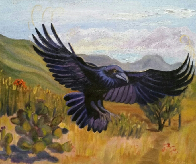 RAVEN :Messenger from the Great Mystery. 20cm x 60cm. $500 USD. $8,500 MSN